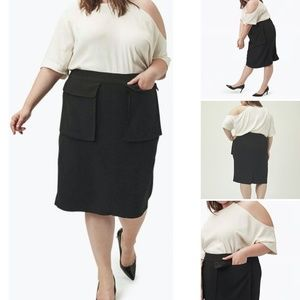 Universal Standard Black Caura Crepe Pocket Skirt
